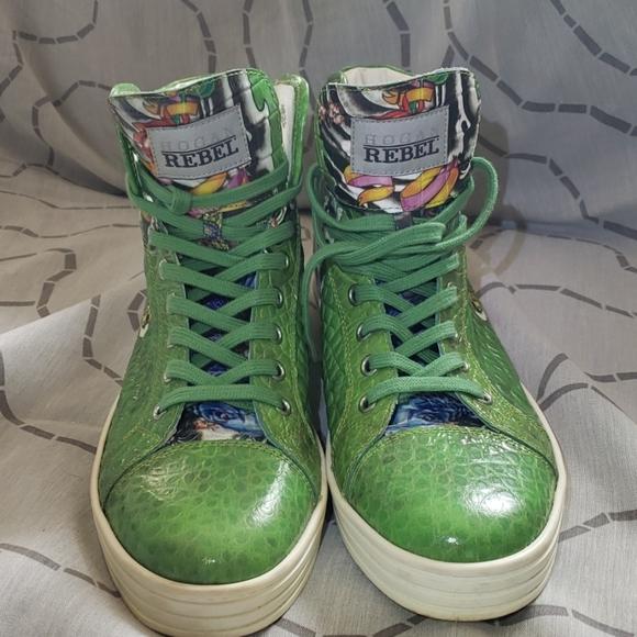 Hogan Rebel Green Tattoo Printed Leather Sneakers